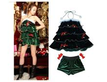 New Chirstmas Themed Halter Neck Christmas Tree Shape Bud Tutu Dress Party Ball Prom Velvet Dress With Pants