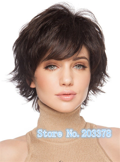Dark Brown Short Wave Side Bang Synthetic Hair wig Noble Charming Trendy Fluffy Capless Wig For Women 10pcs/lot free shipping<br><br>Aliexpress