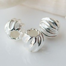 sterling silver beads,solid 925 sterling silver round corrugated spacer beads for necklace/bracelet  jewelry, 1 piece