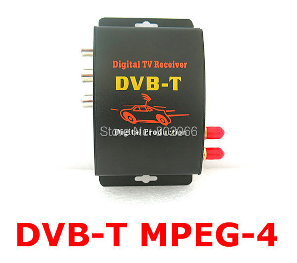 2 Tuners External Mobile car DVB-T MPEG-4 Auto DVBT MPEG4 Digital TV Receiver Box With Remote Control For Car DVD GPS Player(China)