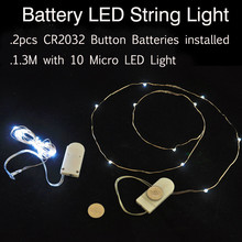 10pieces/ lot 2M 20LEDs 2pcs Replaceable 3V CR2032 Battery Operated Silver Coated Copper Wires LED String Fairy Lights Strand(China)