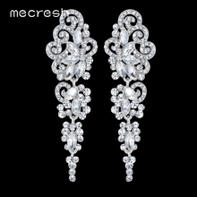 Mecresh Top Crystal Wedding Earrings for Bridesmaid Silver Color Floral Long Pendantes Earrings 2017 Engagement Jewelry EH295(China)