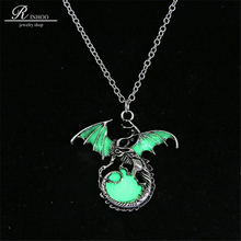 Game of Throne dragon Retro luminous pendant necklace Silver Sweater Chain punk Jewelry glowing in the dark necklace For Women