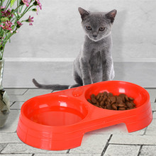 Double Bowls Design Plastic Pet Dog Cat Bowl Compartment Feeding(China)