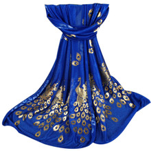 2017 Womens Luxury Chiffon Scarf Elegant Golden Peacock Veil Scarves Shawl Stole Soft Long Wraps Scarf Pashmina 170X50cm Bufanda