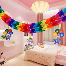 3M Christmas Wedding Decoration Rainbow Flower Tissue Paper Birthday Garland Christmas Decorations For Home CT0135