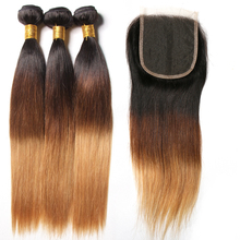 3 Bundles Ombre Brazilian Straight Hair With Closure Human Hair Weave 1b/4/27 4x4 Free Part Lace Closure SAY ME Blonde Remy Hair(China)