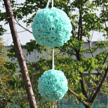 18pc Fabric 25cm Artificial Rose Kissing Ball Wedding Birthday Anniversary Furniture Church Outdoor Decor Blue FL5074
