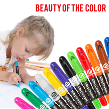 Creative Rotate washable water soluble crayon safety and non-toxic colour pen watercolor painting brushes Art Supplies(China)