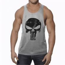 Bodybuilding Men's Retro Skull Logo Tank Tops Gyms Clothing Casual Workout Clothes Sleeveless Cotton Vest 8 Colors