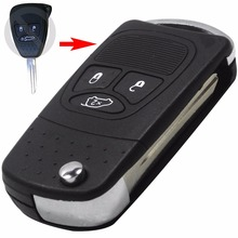 5pcs/lot Flip Remote Key Shell refit for Chrysler Dodge Jeep Avenger Nitro 3 Button Fob Folding Key Case