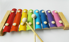Baby kids Toy 8 tone Musical Instruments learning and education musical toys Wooden Colorful Early Educational toys Drum stick
