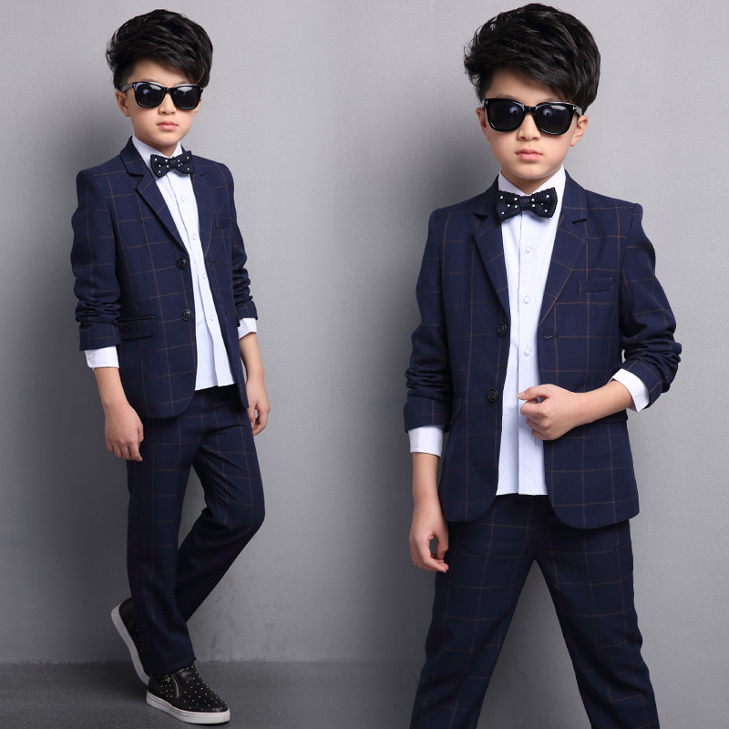 Childrens clothing boy suit autumn and winter 2017 new style in the big child fashion small suit two pieces / sets<br>