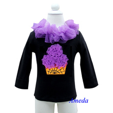 Halloween Orange Purple Spider Web Cupcae Black Long Sleeves Top Pettitop 1-7Y