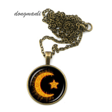 MAZZ0375 crescent necklace islam jewelry islamic amulet relgion pendant moon star necklace jewelry accessories