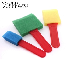 KiWarm 3pcs/pack Excellent Quality Sponge Foam Brush Flat Plastic Handle Assorted Widths Applying Paints Brush Set Supplies