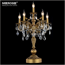 Luxurious Bronze Color Crystal Table Light Desk Light Wedding Candelabra Crystal Table Lustres Lighting(China)