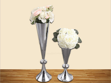 Free shipping factory wholesale European style silver wedding decorative flower vase 1 lot=1 big vase+1 small vase