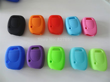Silicone Key Shell Cover For Renault Clio Kangoo Twingo 1 Button Remote Key Blank Colorful for 1pc for car key()