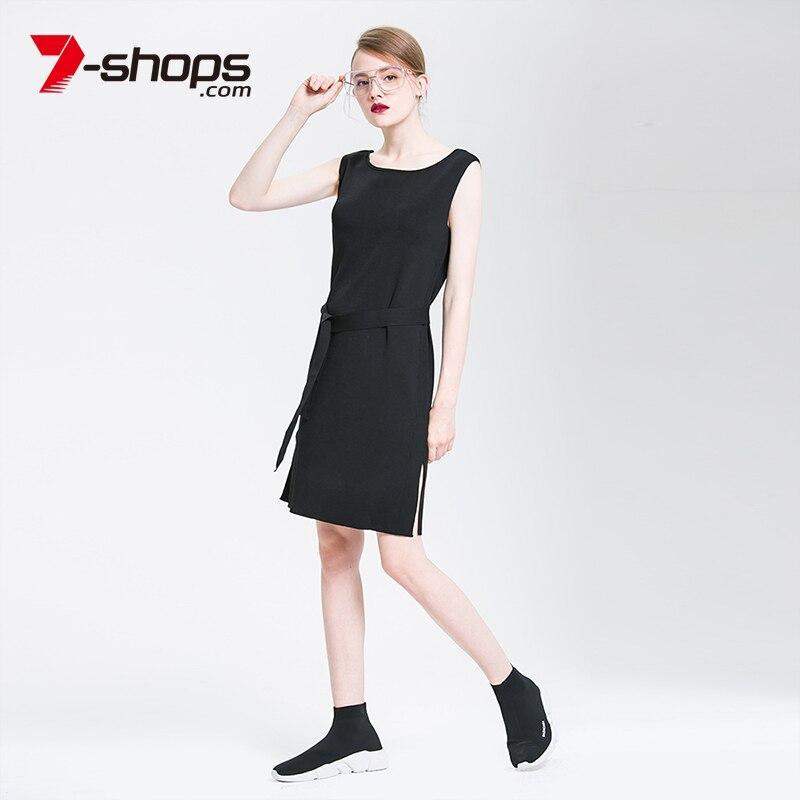 7-Shops AB0162 2018 Spring&amp;Summer O-Neck Jumper Sexy Dress with Belt Bordelle Angela Knitted Dress Charm Solid Women DressesÎäåæäà è àêñåññóàðû<br><br>