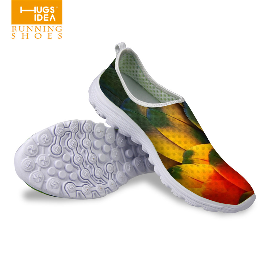 Multi-color 3D Animal Feather Women Casual Mesh Breathable Shoes Slip-on Comfortable Flat Zapatillas Deportivos Mujer Lazy Shoes<br><br>Aliexpress