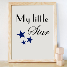 Kid Room Wall Picture Canvas Print Navy Blue Quote Inspiring My Little Star Boy Nursery Poster Art Wall Photo Art Poster LZ334