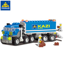KAZI 163 pieces children blocks birthday christmas gift truck DIY toys educational building blocks brinquedos comptible all bran