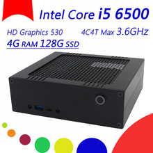 The Best Pocket PC Mini HTPC With Intel Core i5 6500 4C4T Max 3.6GHz, 2*DDR4 2133 1.2V Slots, 4G DDR4 RAM 128G SSD, HDMI