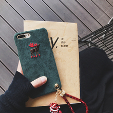 South Korea Corduroy Elk Case for iPhone 7 7plus 6 6s 6plus 6splus with Strap SLucky Cat Pendant Hard Coque Mori Girl Style