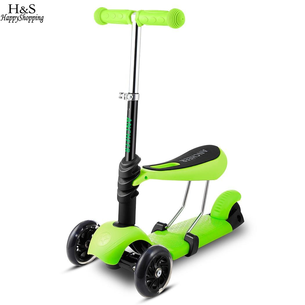 Ancheer Newest Mini Kick Scooter Child Kids 3-Wheel Mini Kick Scooter Adjustable Handle T-Bar & Seat hot Scooter