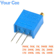 20 pcs 3296 Trimmer Potentiometer 3296W Variable Resistor Adjustable Resistance 101 102 103 104 105 201 202 203 204 501 500 502(China)
