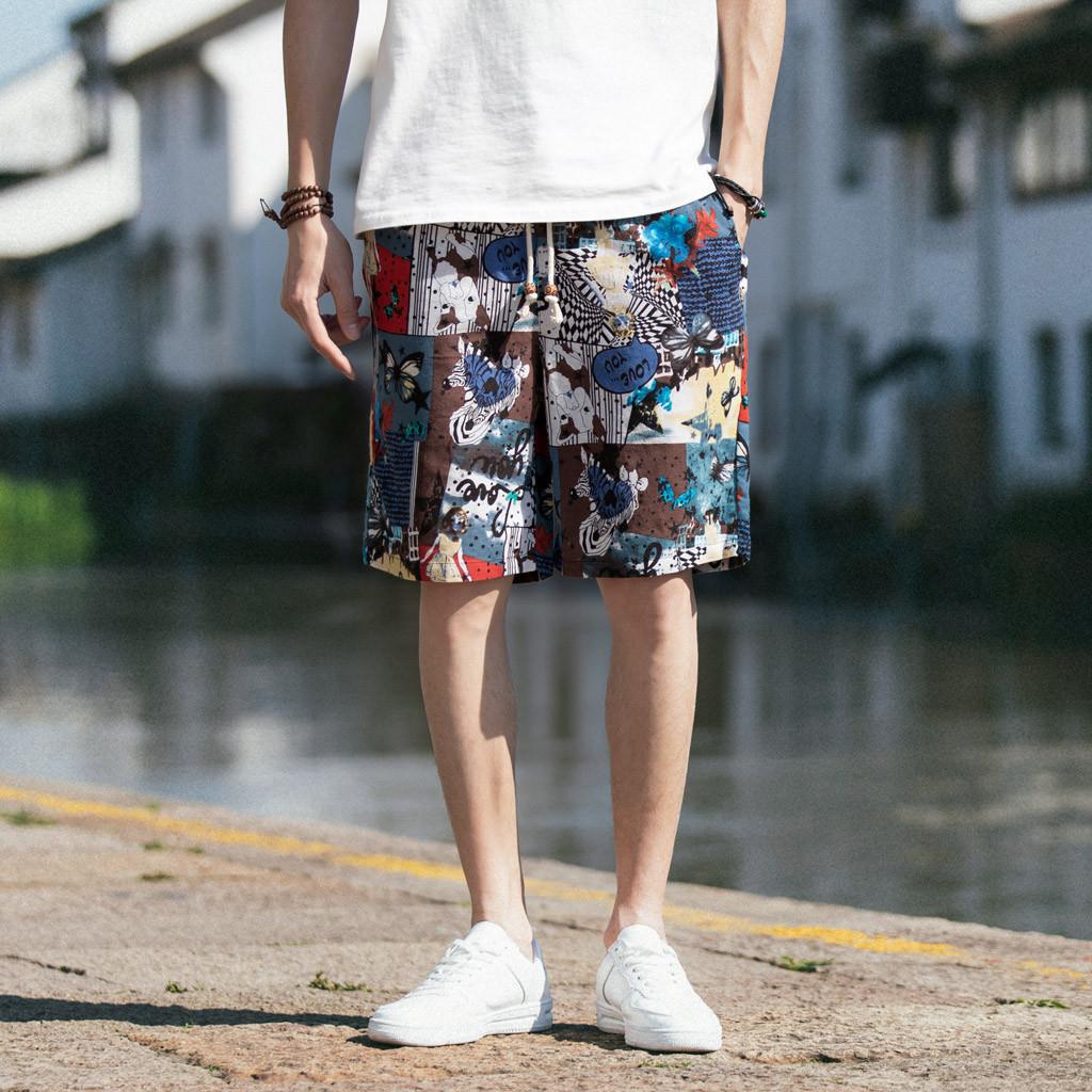 Men Shorts Meskie Linen Harem Wide-Leg Male Cotton Summer Casual Spodenki Breathable title=