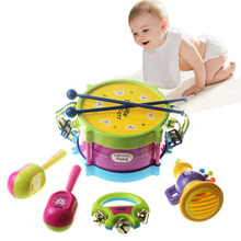 Children's Musical Instrument Toys 5-piece Set Drums Combination Educational Toy Baby Rattle Double-sided Drum Pat Drum Toy Gift(China)