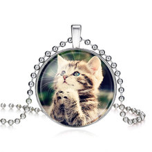 Cute Small Cat In Bronze Handmade Glass Long Necklace For Women Drop Shipping Cat Pendant Necklaces Jewelry Good Condition(China)