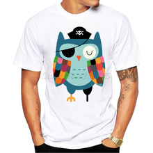 2016 New Fashion Creative Pirate Owl Design Men's High Quality T Shirt Cool Printed Tops Casual Male T-shirt