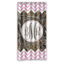 (36 x 72 inch Stylish Living Elegant Girl Light Pink and White Chevron and Camo Monogram Bathroom Shower Curtain(China)