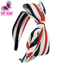 High Quality Chiffon Striped Hairband Headband Wide Alice Band For Kids Girls Children Hair Accessories 8Pcs/lot