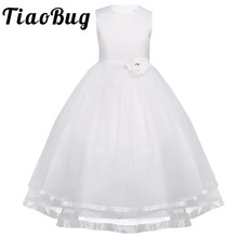 TiaoBug Flower Girl Dresses Holy Communion Dress White Blue Tulle Vestidos Pageant Dresses For Little Girls Ball Gown 2-14Y(China)