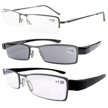 R-19 3-Pack Reading Glasses(Spring Hinge Half-rim+Plastic Full-rim)  +1.0/1.25/1.5/1.75/2.0/2.25