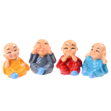 1Pcs Resin Lovely Home Car Interior Accessories Doll Maitreya gifts little monks Buddha Kung Fu Small Ornaments(China)