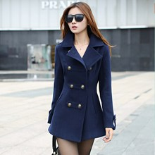 2015 New Winter Clothes Woman Long Design Wool Double-breasted Coat Female Fashion Slim Thin Long Blends Trench Overcoat ZL0535