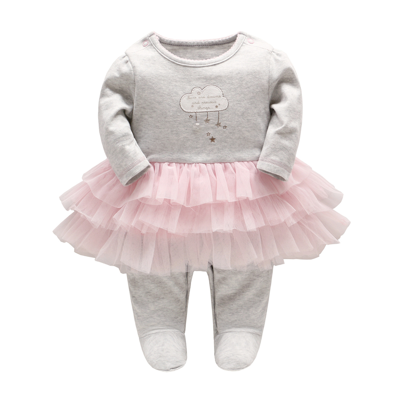 2017 autumn and winter new baby gril dress lace patchwork skirt pillover baby rompers clouds long sleeved baby gril clothes(China)
