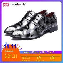 Merkmak Big Size 37-48 Fashion Men Dress Wedding Shoes Round Toe Man Flats Business Leather British Lace-up Footwear Shoes