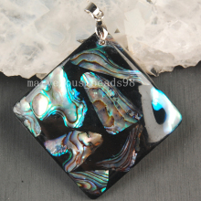 Free Shipping Beautiful jewelry  46x46mm New Zealand Abalone Shell Art Pendant Bead MC3640