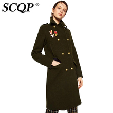 SCQP Badge Letter Embroidery Blends Double Breasted Coat Woman Army Cartoon Ladies Winter Coat Casual Long Jacket Women 2016