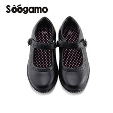 New Girl black Mary Jane school shoes uniform students soft footwear girls leather students comfortable flats casual shoes(China)