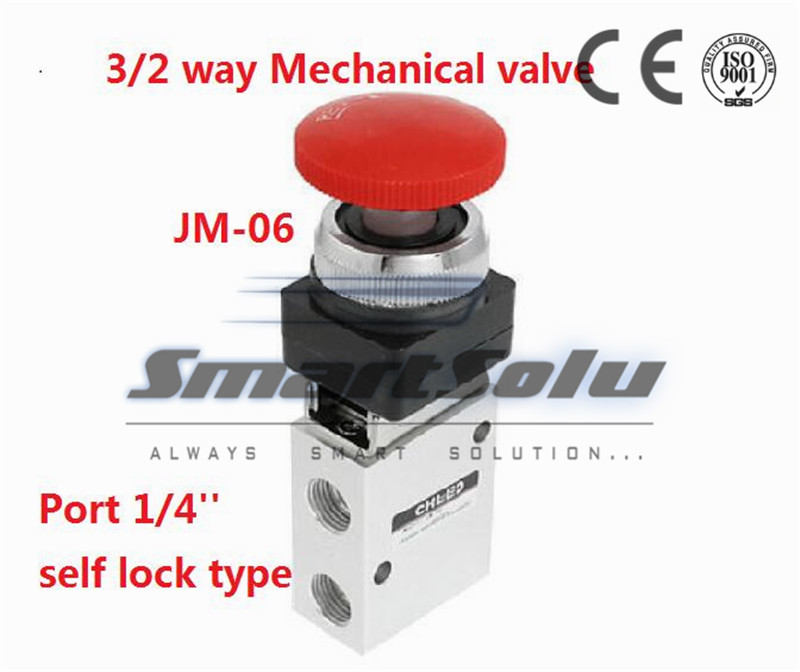 Free shipping  3 way air Manual Mechanical valve hand control valves 1/4 inch JM-06 Rotary type with selective knob button<br><br>Aliexpress