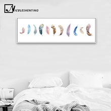 Nordic Art Feather Poster Minimalist Canvas Painting Wall Picture Huge Print Modern Home Bedroom Decoration Watercolor Picture(China)