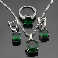 Silver Color Jewelry Sets For Women Green laboratory-created Emerald Necklace Pendant Drop Earrings Rings Free Gift Box