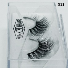 3D Mink Lashes 1 Box 1 Pair Packing Natural Thick Crisscross Messy False Eyelashes Pure Handmade Cotton Stalk Fake Eyelashes D11(China)